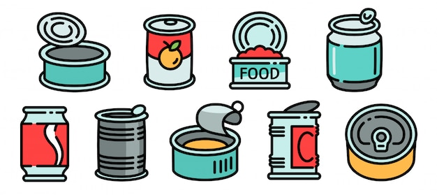 Tin can icons set, outline style Premium Vector