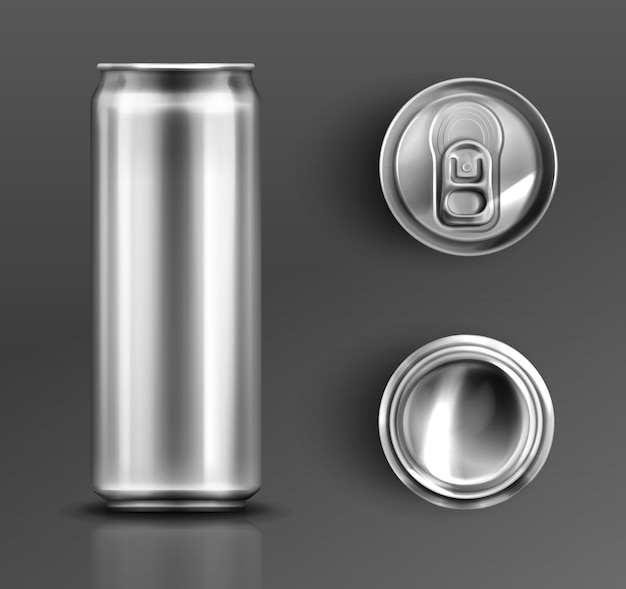 Tin can with open key front, top and bottom view set. Free Vector