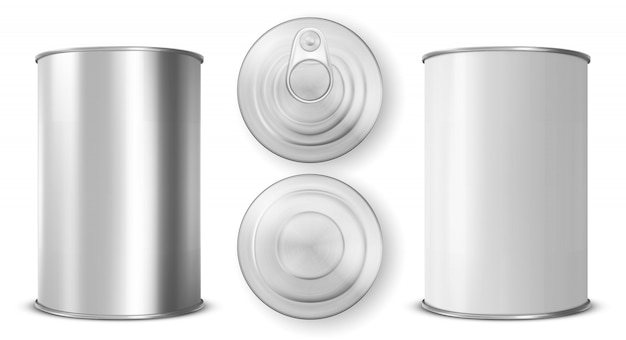 Tin can with ring pull side, top and bottom view Free Vector