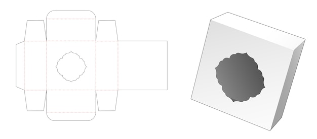 Tin gift box with vintage window die cut template Premium Vector