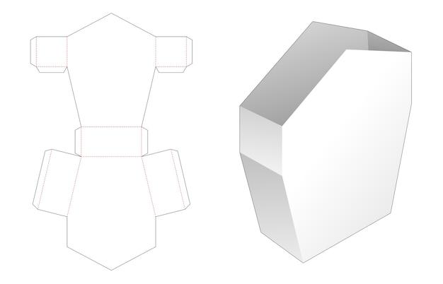 Коробка для канцелярских принадлежностей в форме оловянного домика с высечкой с ручкой Premium векторы