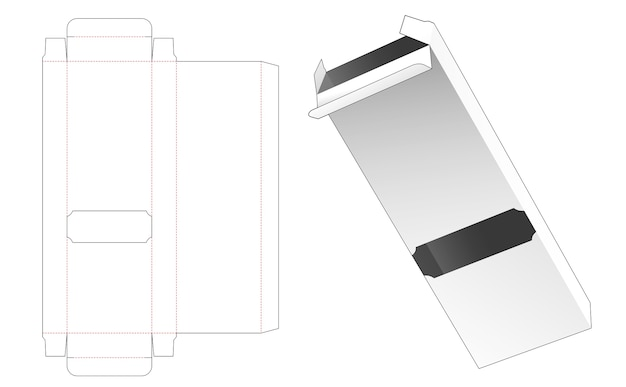 Tin and long box with window die cut template Premium Vector