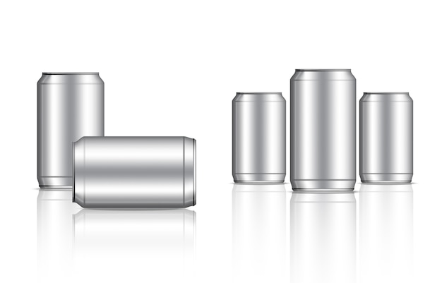 Tin metallic can and bottle beverage packaging Premium Vector