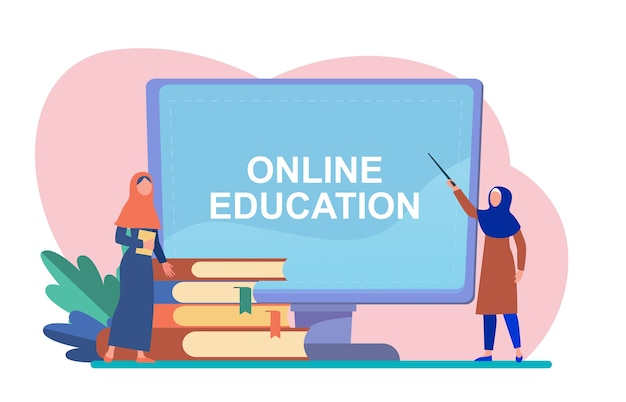 Tiny arabian woman learning via computer. book, student, internet flat vector illustration. study and online education Free Vector