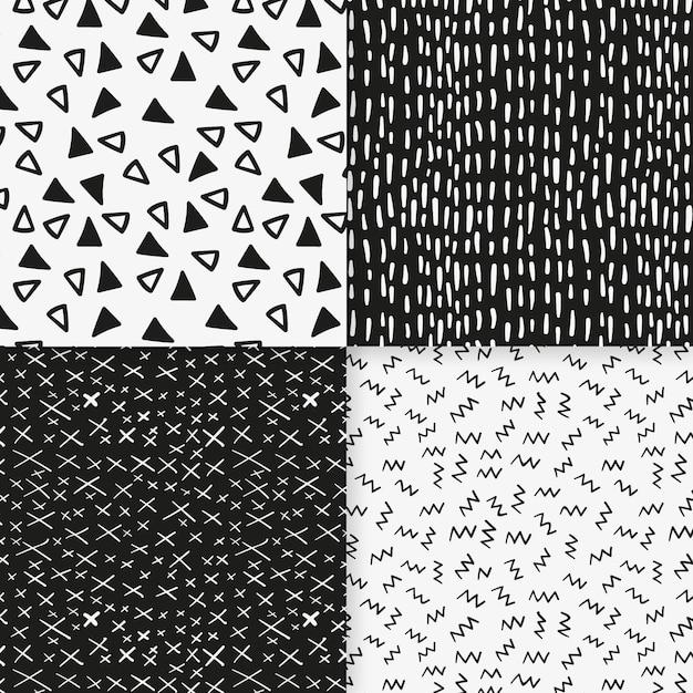 小さな黒と白の形状のシームレスパターンテンプレート Premiumベクター