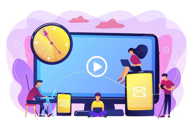 Крошечные деловые люди смотрят на экраны цифровых устройств и часы. экранная зависимость, цифровая перегрузка, концепция последствий информационной перегрузки. яркие яркие фиолетовые изолированные иллюстрации Бесплатные векторы