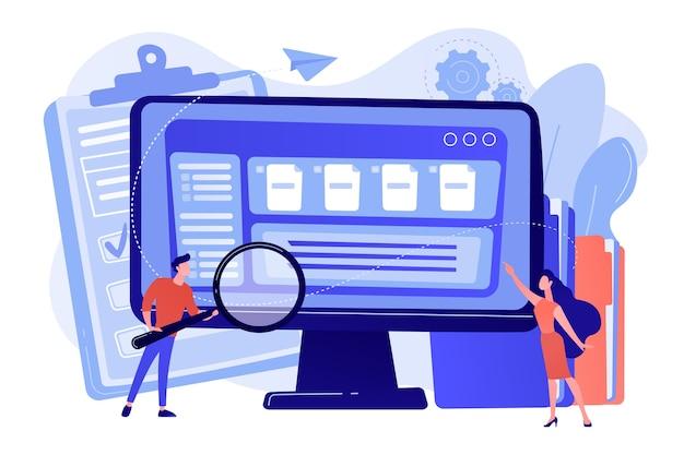 拡大鏡を持っている小さなビジネスマンは、コンピューターでドキュメント管理を行っています。ドキュメント管理ソフト、ドキュメントフローアプリ、複合ドキュメントの概念図 無料ベクター