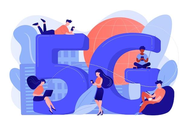 5gテクノロジーを使用したモバイルデバイスを使用する小さなビジネスマン。 5gネットワーク、次世代接続、最新のモバイル通信コンセプト 無料ベクター
