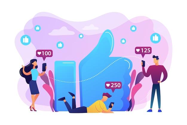 Маленькие деловые люди со смартфонами и планшетами получают как уведомления. любит зависимость, зависимость от больших пальцев, безумие в социальных сетях. яркие яркие фиолетовые изолированные иллюстрации Бесплатные векторы