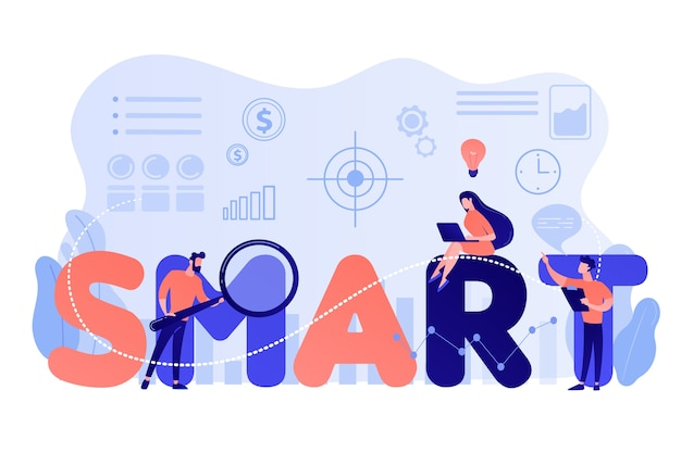 Tiny business people working on goals and sitting on smart word. smart objectives, objective establishment, measurable goals development concept Free Vector