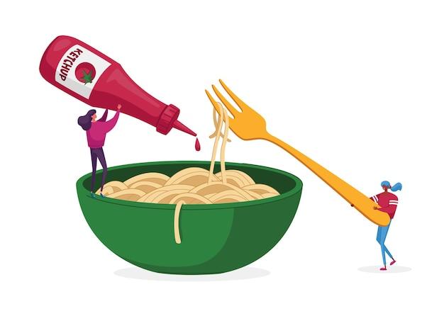 ケチャップソースを注ぐスパゲッティパスタを食べる小さなキャラクター Premiumベクター