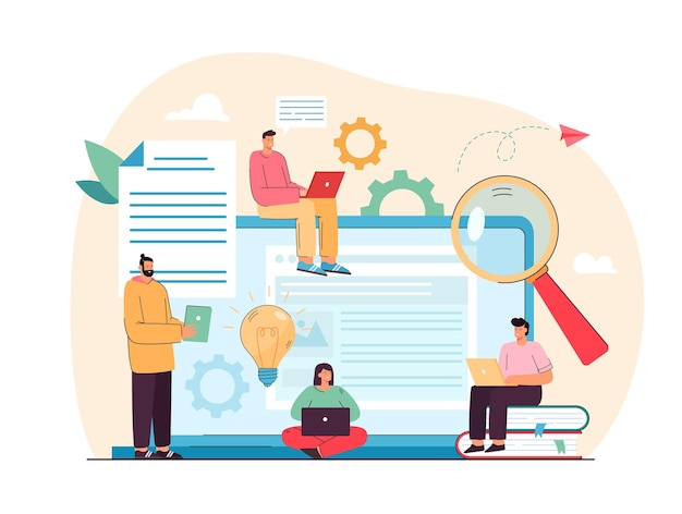 Tiny content writers creating web articles flat illustration Free Vector