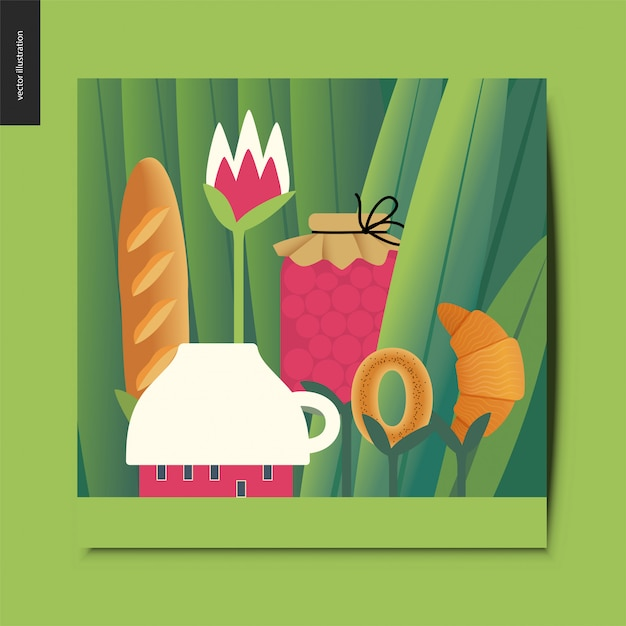 Tiny cup house and tee meal on stems growing among huge grass trunks card Premium Vector