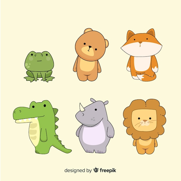 Tiny cute animal pack in hand drawn Free Vector