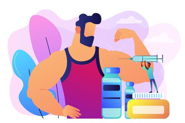運動選手に同化ステロイドホルモンの注射をしている注射器を持つ小さい医者。同化ステロイドホルモン、アンチエイジングエイド、違法なスポーツドラッグのコンセプト。 無料ベクター