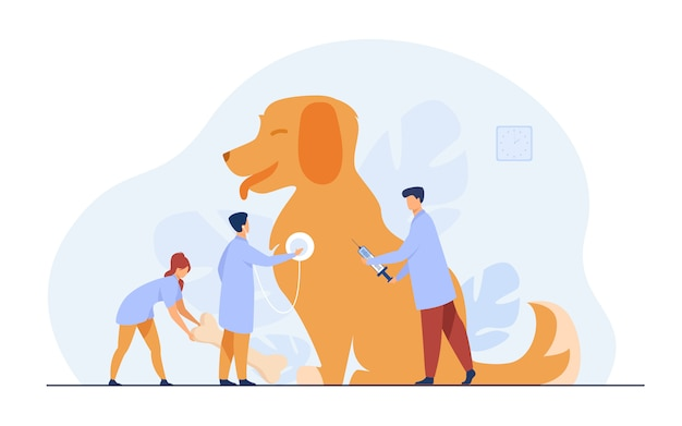 Tiny doctors caring dog in vet office Free Vector