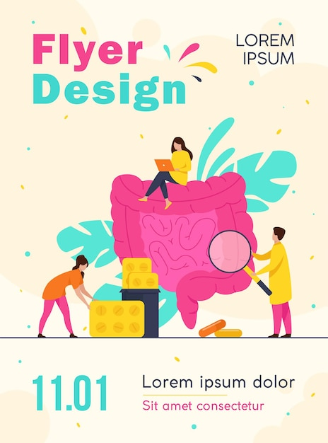 Tiny doctors checking and treating large intestine isolated flyer template Free Vector