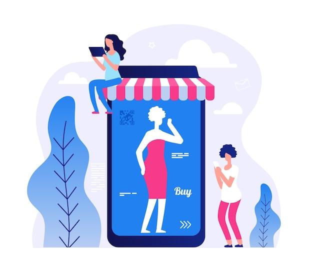 スマートフォンとタブレットの小さな平らな女性 Premiumベクター