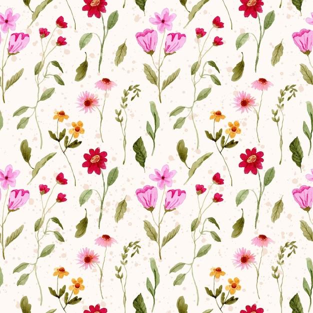 Крошечный цветочный сад акварель бесшовные модели Premium векторы