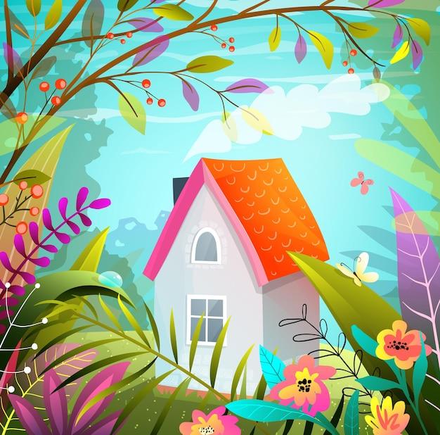 森の中の小さな家、ガッシュカラフルなスタイルの架空の魔法の手描きイラスト。 Premiumベクター