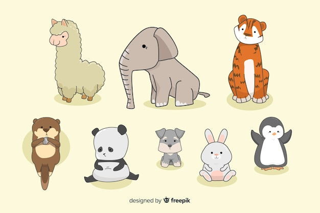 Tiny kawaii animal collection in hand drawn Free Vector