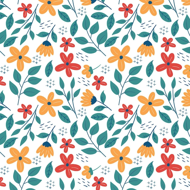 Tiny leaves and flowers floral pattern template Free Vector