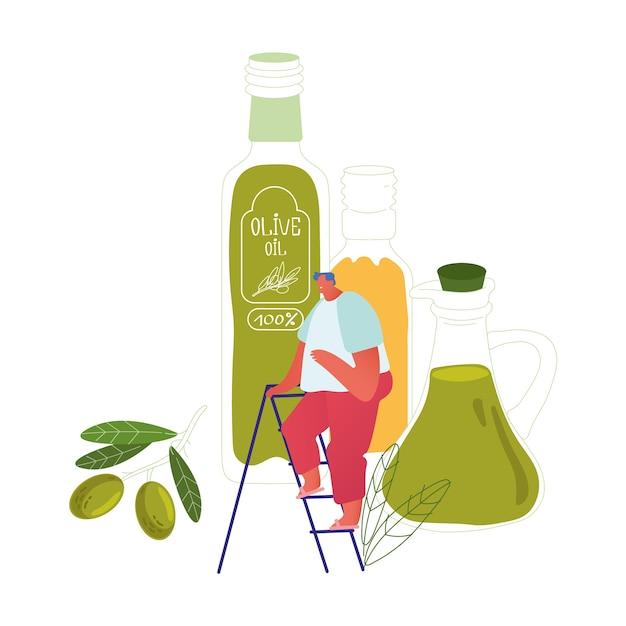 巨大なエクストラバージンオリーブオイルガラス瓶とグリーンフレッシュオリーブブランチのはしごの上に立つ小さな男性キャラクター Premiumベクター