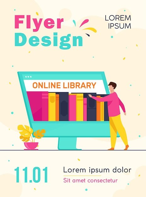 Tiny man choosing book in online library flyer template Free Vector
