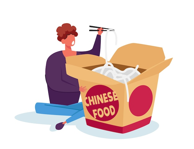 Tiny man holding wooden chopsticks in chinese fast food restaurant sitting near huge takeaway wok box eating noodles Premium Vector