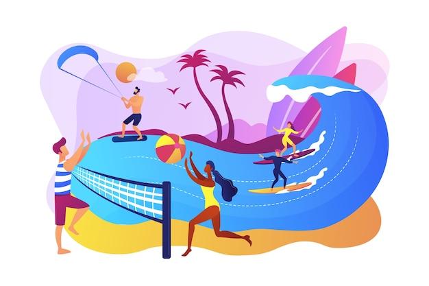 バレーボール、サーフィン、カイトサーフィンをしている大人の小さな人々。夏のビーチアクティビティ、海岸のエンターテイメント、海のアニメーションサービスのコンセプト。 無料ベクター