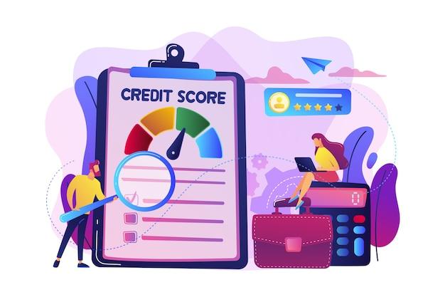 将来の債務者が債務を支払う能力を評価する小さな人々のアナリスト。信用格付け、信用リスク管理、信用格付け機関のコンセプト。 無料ベクター