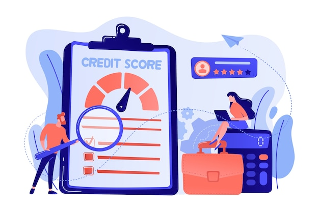 Tiny people analysts evaluating ability of prospective debtor to pay the debt. credit rating, credit risk control, credit rating agency concept illustration Free Vector