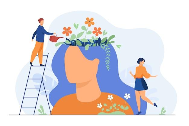 작은 사람과 여성의 머리 안에 아름다운 꽃 정원은 평면 그림을 격리합니다. 무료 벡터