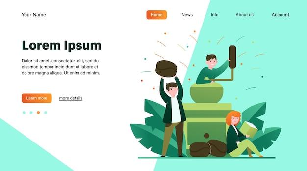 小さな人と大きなコーヒーグラインダー。豆、飲み物、砂糖フラットベクトルイラスト。温かい飲み物とコーヒーブレークのコンセプトのウェブサイトのデザインや着陸のウェブページ 無料ベクター