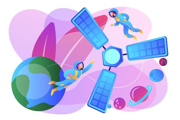 宇宙空間にいる小さな人々の宇宙飛行士と地球を周回する衛星。衛星打ち上げ、軌道打ち上げシステム、キャリアロケットスタートコンセプト。明るく鮮やかな紫の孤立したイラスト 無料ベクター