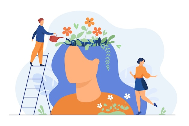 Tiny people and beautiful flower garden inside female head isolated flat illustration. Free Vector