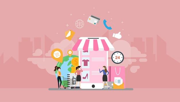 Интернет-магазин tiny people character Premium векторы