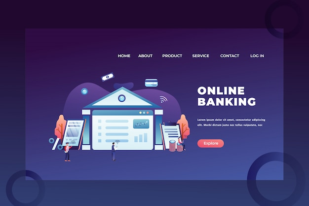 Tiny people concept for online banking of business and finance web page header landing page Premium Vector