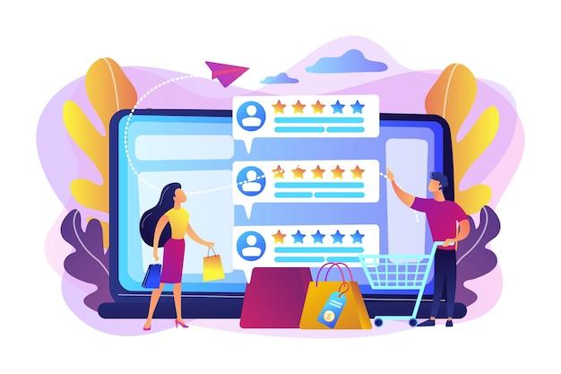 평판 시스템 프로그램으로 온라인 평가를하는 작은 사람들. 판매자 평판 시스템, 최고 평점 제품, 고객 피드백 비율 개념. 무료 벡터