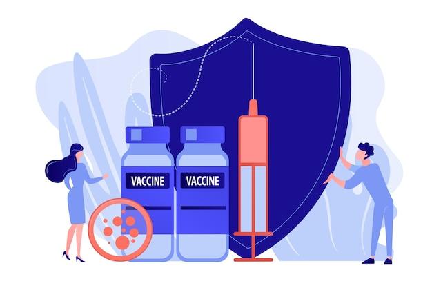 Крошечные люди-врачи и шприц с вакциной, щит. программа вакцинации, вакцина для иммунизации болезней, концепция защиты здоровья. розоватый коралловый bluevector вектор изолированных иллюстрация Бесплатные векторы