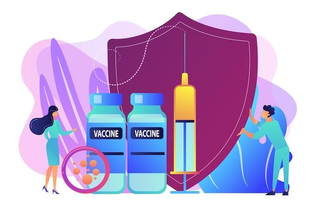 Persone minuscole medici e siringa con vaccino, scudo. programma di vaccinazione, vaccino per l'immunizzazione delle malattie, concetto di protezione della salute medica. illustrazione isolata viola vibrante brillante Vettore gratuito