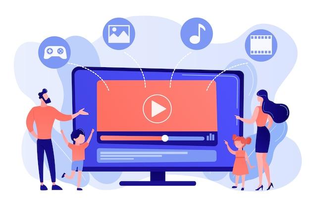 Семья крошечных людей с детьми, смотрящая смарт-телеканал. контент smart tv, интерактивное шоу smart tv, концепция контента с высоким разрешением Бесплатные векторы