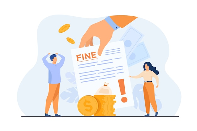 Tiny people getting paper sheet with fine flat illustration. Free Vector
