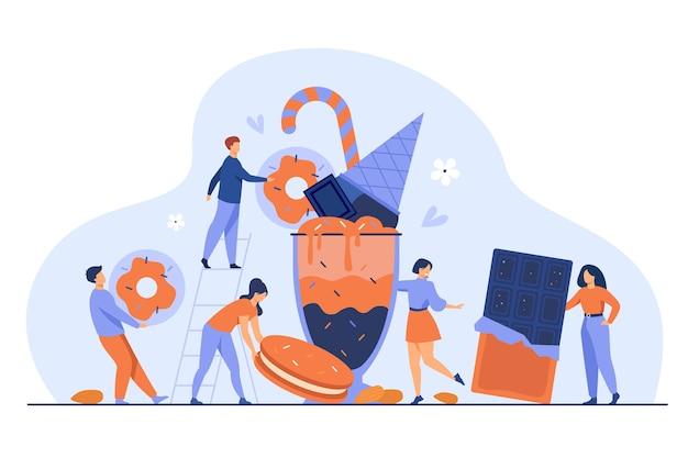 Крохотные человечки держат и несут плитки шоколада, печенья, пончиков, мороженого, молочного коктейля. векторная иллюстрация сладкое блюдо, десерт, выпечка, пекарня, концепция сахара Бесплатные векторы