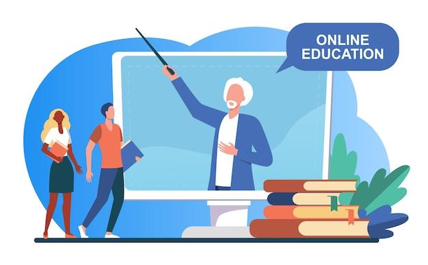 Piccola gente che ascolta docente sullo schermo del computer. libro, studente, insegnante piatta illustrazione vettoriale. studio e formazione online Vettore gratuito
