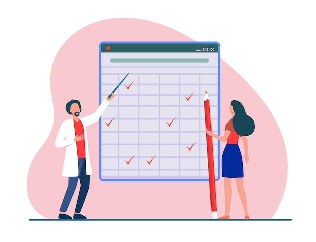 Tiny people looking at checkmarks in huge table. pencil, woman, mark flat vector illustration. report and digital technology Free Vector
