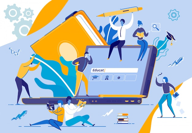 Tiny people moving around of huge laptop monitor Premium Vector
