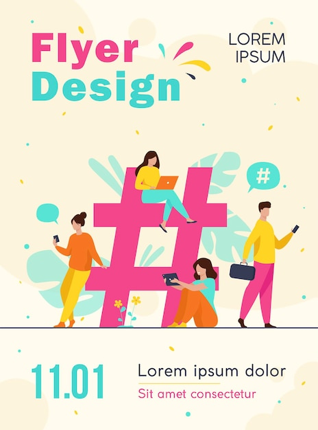 Tiny people near hashtag for social media flyer template Free Vector