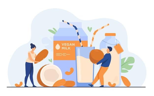 Крошечные люди возле безлактозного молока с плоским векторная иллюстрация. мультяшные веганские напитки из миндаля, овса, риса, сои и семян. концепция здоровья и вкусной сырой пищи Бесплатные векторы