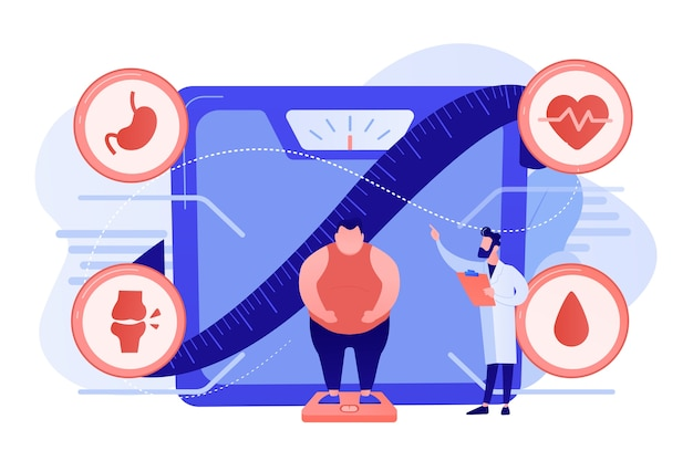 비만 deseases를 보여주는 작은 사람, 비늘에 과체중 남자와 의사. 비만 건강 문제, 비만 주요 원인, 과체중 치료 개념. 분홍빛이 도는 산호 bluevector 고립 된 그림 무료 벡터